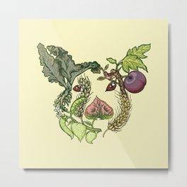 Botanical Pig Metal Print
