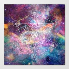 Watercolor and nebula sacred geometry  Canvas Print