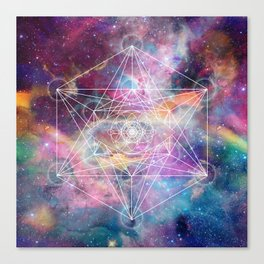 Watercolor and nebula sacred geometry  Canvas Print