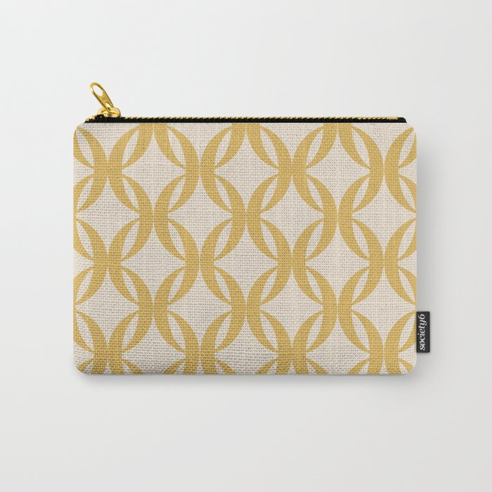 Vintage Geometric Pattern - Golden Yellow Carry-All Pouch