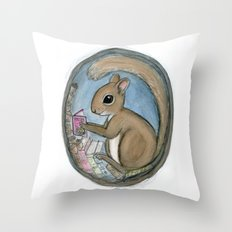 Sherman Squirrel Reads a Tale Throw Pillow