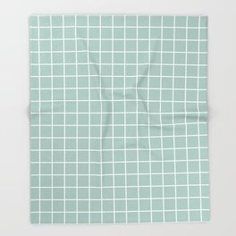 Opal - grey color - White Lines Grid Pattern Throw Blanket