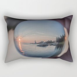 Annisquam sunset though a Crystal Ball Rectangular Pillow