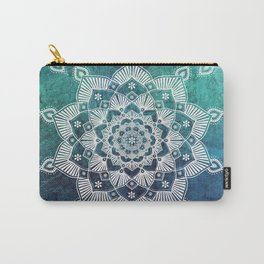 Aqua Spirit Mandala Turquoise Blue Green White Carry-All Pouch
