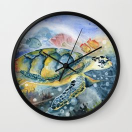 Colorful Seaturtle Art Wall Clock