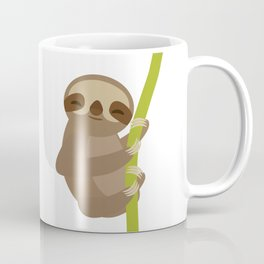 funny and cute smiling Three-toed sloth on green branch Coffee Mug