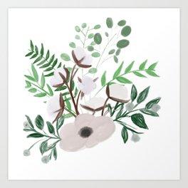Cotton Blossom Bouquet Art Print