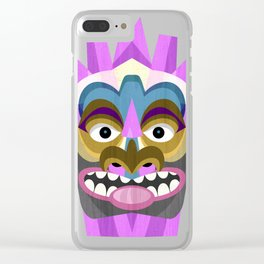 Tribal Tiki Mask Clear iPhone Case