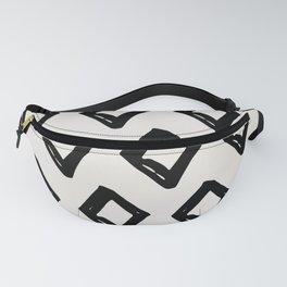 Modern Diamond Pattern Black on Light Gray Fanny Pack