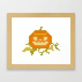 Pixel Art Pumpkin Framed Art Print