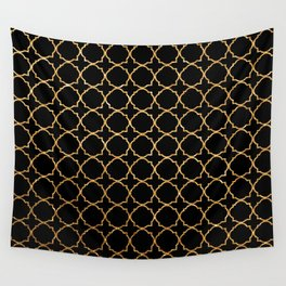 Elegant black faux gold glitter chic quatrefoil vector illustration Wall Tapestry