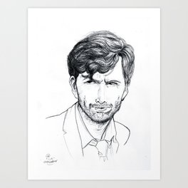 David Tennant as Broadchurch's Alec Hardy (or Gracepoint's Emmett Carver) Etching Art Print