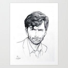 David Tennant as Broadchurch's Alec Hardy (or Gracepoint's Emmett Carver) Etching Art Print