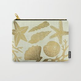 Gold Seashells Carry-All Pouch
