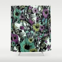 sandman Shower Curtains featuring Mrs. Sandman, melting rose skull pattern by Kristy Patterson Design