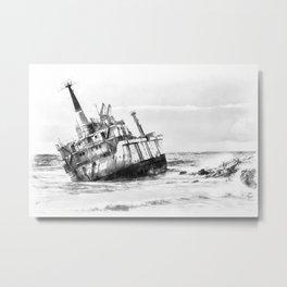shipwreck aqrebw Metal Print