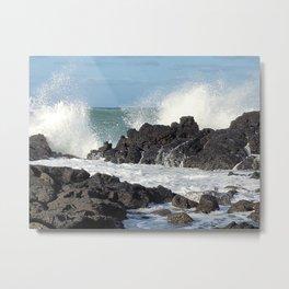 The waves of the Jeju sea crashing on the rocks , Jeju Island, Korea. Metal Print