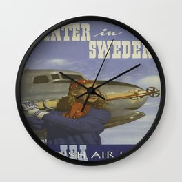 Vintage poster - Winter in Sweden Wall Clock