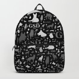 German Shepherd Dog Silhouettes -Grayscale Backpack