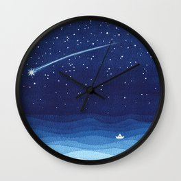 Falling star, shooting star, sailboat ocean waves blue sea Wall Clock