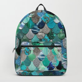 Mermaid Sea, Teal, Aqua, Silver, Grey Backpack