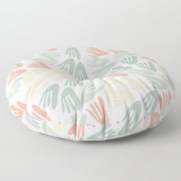 Papier Découpé Modern Abstract Cutout Pattern in Soft Sage Green and Pale Coral on White  Floor Pillow