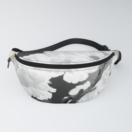 Cherry Tree Flowers in Black and White #decor #society6 #buyart Fanny Pack