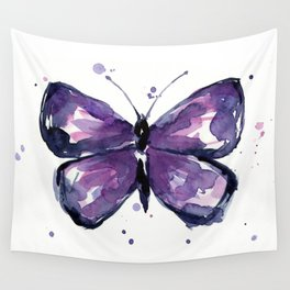 Purple Butterfly Watercolor Abstract Animal Art Wall Tapestry