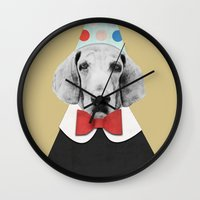 pooh Wall Clocks featuring Doggy Pooh the Clown by cafelab