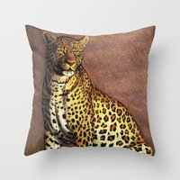 panther Throw Pillows featuring Panther by Savousepate