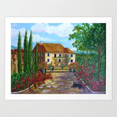 Tuscany with Cats Art Print