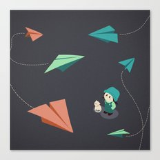 Girl Watching Paper Planes Canvas Print