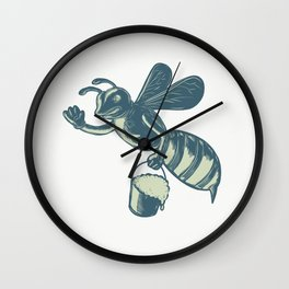 Honey Bee Waving With Pail of Honey Scratchboard Wall Clock