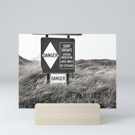"""Surf Unsafe, Strong Undertow"" Beach Access Sign Washington Coast, Pacific Northwest Mini Art Print"
