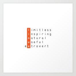 Linux - limitless, inspiring, natural, useful, extrovert - vertical Art Print