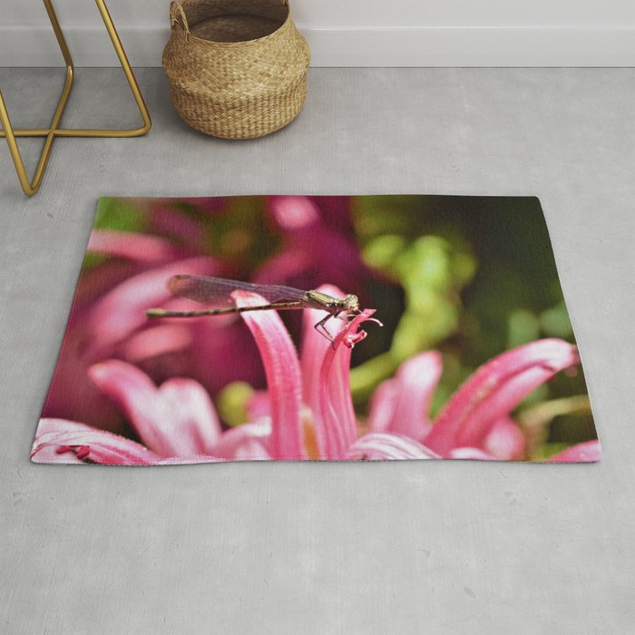 Delicate Pinks and the  Dragonfly by Reay of Light Rug