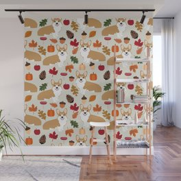 Corgi Autumn Fall woodland pillow phone case cute corgi design corgi dog pattern corgis love Wall Mural