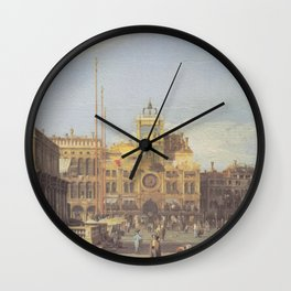 Piazza San Marco Clock Tower - Canaletto (Distressed Plaster Look) Wall Clock