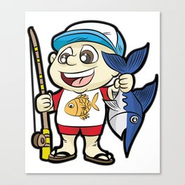 HAPPY FISHING KID with Rod and Swordfish Gift Canvas Print