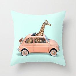 GIRAFFE CAR Throw Pillow