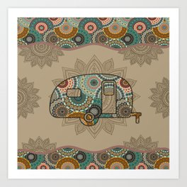 Campers Camping Campsite Hawaii Hippie Style Art Print