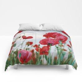 Field of Poppies Against Grey Sky Comforters