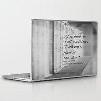 jane austen Laptop & iPad Skins featuring Jane Austen Book by KimberosePhotography