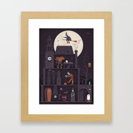 Haunted House at Halloween  Framed Art Print