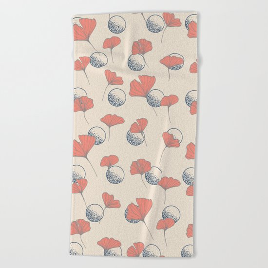 Delicate Ginkgo&Dots #society6 #decor #buyart Beach Towel