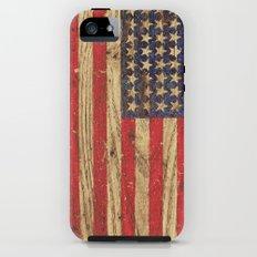 Vintage Patriotic American Flag on Old Wood Grain iPhone (5, 5s) Tough Case