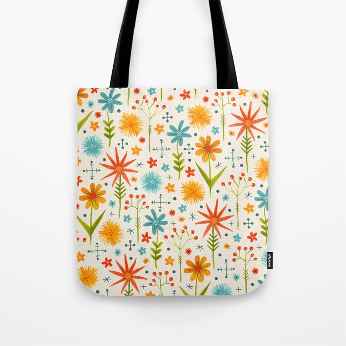 bright retro style floral pattern in red yellow blue and green Tote Bag