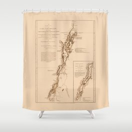 1770s Maps: Lakes Champlain and George (adapted) Shower Curtain