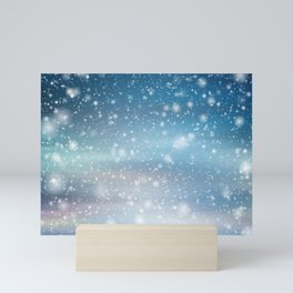 Snow Bokeh Blue Pattern Winter Snowing Abstract Mini Art Print