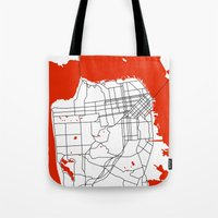 san francisco map Tote Bags featuring District San Francisco Map by Studio Tesouro